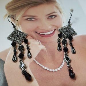 Vintage pewter dangle earrings